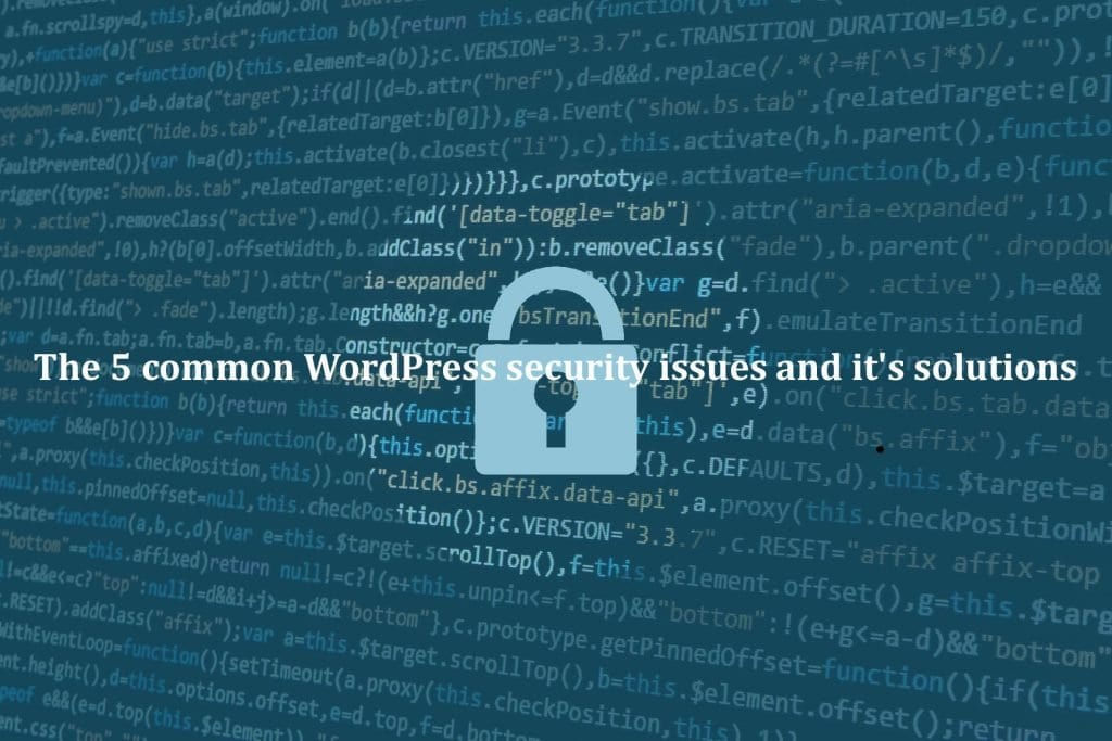 The 5 common WordPress security issues and it's solutions